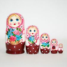 Nesting doll russian matryoshka babushka dolls - Pink shawl with flowers modern