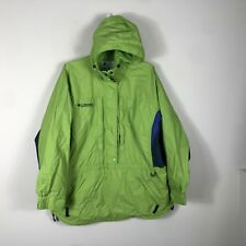 Columbia Windbreaker Women's Large Green Water Resistant 1/2 Zip Coat