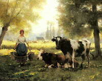 Julien Dupre A Milkmaid With Her Cows Fine Art Print on Canvas Decoration Small