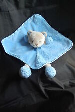 Carters Teddy Bear Soother Blankie Blue Brown Baby Security Blanket Plush