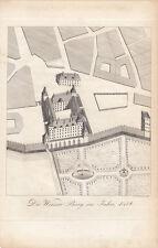 Wien Die Wiener Burg im Jahre 1458 Orig. Stahlstich Neubauer 1837