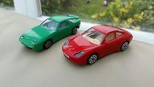 2 x Diecast 1:43 Red Porsche 911 and Green Porsche 928 Cars
