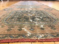 Bohemian Antique 1930-1940's, Wool Pile Vegy Dye, Tribal Runner Rug 3x10ft