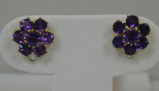 2.20 CT MAGNIFICENT AMETHYST CLUSTER EARRINGS~10K YELLOW GOLD~11MM DIAMETER