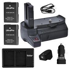 Battery Grip for Nikon D3400 + 2x EN-EL14a Battery + AC/DC Dual Charger