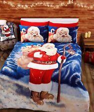 Father Christmas Double Cotton Rich Novelty Duvet Quilt Cover Set Santa