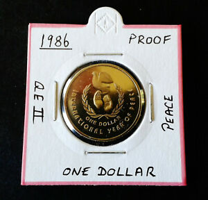 1986 proof $1 international year of peace one dollar coin