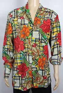 Mens Vtg 70s Style Floral & Tartan Crazy Fresh Prince Festival Shirt XL