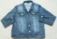 Buffalo David Bitton Blue Denim Jeans Jacket Coat Solid Womens CottonPolySpandex