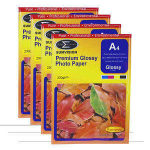 100 Sheets Pack Sumvision A4 Premium Inkjet Printer Photo Glossy Paper 230gsm