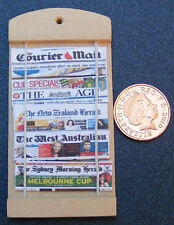1:12 Scale Dolls House Wooden Newspaper Rack With Australian & NZ Newspapers