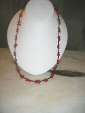 Men's Red & Black  coral and glass necklace