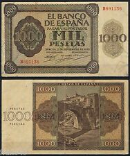 ESPAÑA 1000 PESETAS 1936  BURGOS Serie B691136 Pick 103  MBC  VF