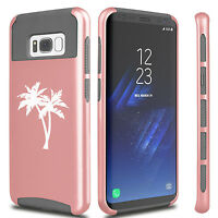 For Samsung S5 S6 S7 Edge S8 + Dual Shockproof Hard Soft Case Cover Palm Trees