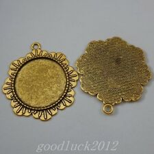 Round 30mm Antiqued Gold Alloy Lace Tray Base Setting Pendant Findings 5 pcs