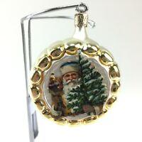 VTG Mercury Glass Christmas Ornament Czech Republic Gold Brown Santa Round DS02