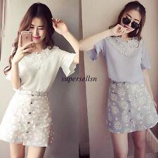 Summer Korean Womens Lace Chiffon V Neck Loose Casual Tunic Blouse Tops T Shirt
