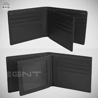 EGNT 12CC Trifold Wallet RFID BLACK GENUINE LEATHER LUXURY BIFOLD SLIM MENS NEW
