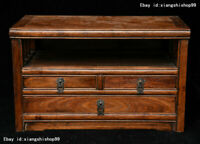 Old Collect Chinese Huanghuali wood Hand-Carved drawer Jewelry Box Storage chest