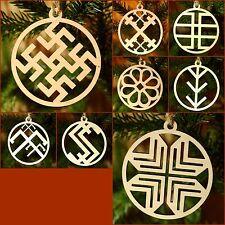 8 Christmas Xmas Tree Ornaments Latvian National Symbols Made from Birch Plywood