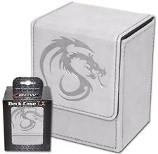 2 BCW White Leatherette Deck Boxes - MTG - Card Storage Magnetic Ultra Protector