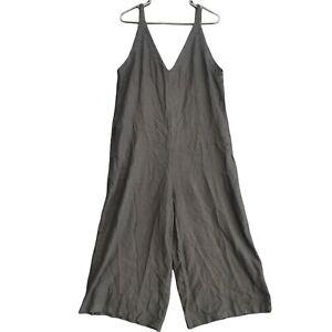 Uniqlo Womens Black Linen Blend Sleeveless V-Neck Jumpsuit Size M
