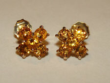 10K SOLID  YGold CITRINE Round Cluster Studs Earrings 1Gm NOVEMBER BIRTHSTONE
