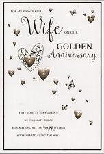 "ICG Wife Golden 50th Wedding Anniversary Card - Big Hearts & Butterflies 9"" x 6"""