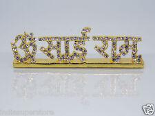 OM SAI RAM Gold Plated Zircon Gemstone for Temple Car Dashboard Desktop Saibaba