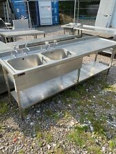 More details for double bowl commercial stainless steel sink (2.4m)