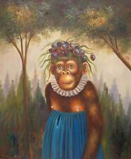 "20"" x 24"" Oil Painting on Stretched Canvas: Monkey in the Forest"