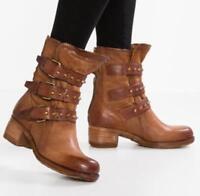 Womens Vintage Combat Sz35-43 Knight Buckle Mid Calf Boots Flat Heel Shoes