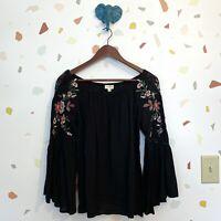 Umgee Small Black rose Floral Embroidered Boho Sleeve Off shoulder Blouse Top