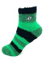 For Bare Feet Dallas Stars Green Rainbow Stripe Fuzzy Socks
