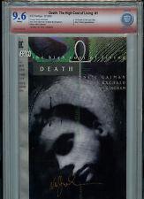 Death High Cost of Living #1 Dc Comics Cbcs Vsp 9.6 Nm+ Gaiman Signed Red Label