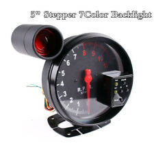 "5""7Color Backlight Stepper Motor Car RPM 11000K Tachometer Gauge LED Shift Light"