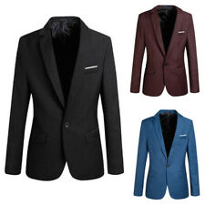 Men's Casual Slim Fit Formal One Button Suit Blazer Coat Jacket Business Tops