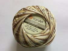 Variegated Brown Yellow White YarnArt Tulip Size 10 Microfiber Thread 17340 50gr