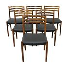 Set of 6 Vintage Mid Century Danish Modern Rosewood Leather Dining Chairs