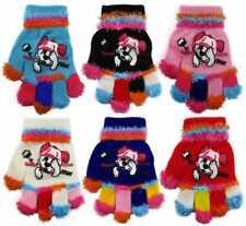 Girls Boys Kids Soft Magic Stretch Multi Colour Puppy Design Winter Gloves Gift