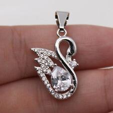 18K White Gold Filled - Black Onyx Eye Swan Waterdrop Gemstone Women Pendant