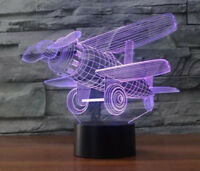 Airplane 3D illusion Night Light 7 Changeable Colors LED Touch Desk Table Lamp