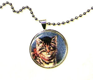 CUTE CROSS EYED TABBY KITTEN CAT SILVER PLATED PENDANT AND NECKLACE HANDMADE