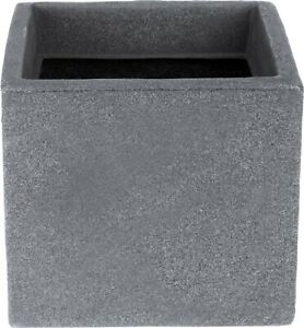 Grey Stone Effect Planters 20cm Cube Plant Pot Square Window box Indoor Outdoor