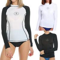 Women Long Sleeve Rash Guard Shirt Surfing UPF 40+ Swimwear Plus Size Sportswear