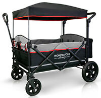 Wonderfold X4 Push Pull 4-Passenger Quad Stroller Wagon Black NEW