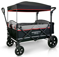 Wonderfold X4 Push Pull 4-Passenger Quad Stroller Wagon Black NEW