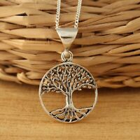 Solid 925 Sterling Silver Tree of Life Pendant Necklace Jewellery Gift Box
