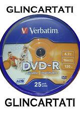 100 DVD - R PRINTABLE VERBATIM AZO 16x vergini vuoti stampabili CAMPANE DA 50