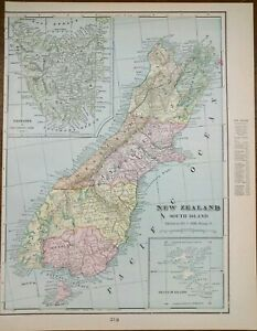 """Vintage 1902 NEW ZEALAND SOUTH Map 11""""x14"""" ~ Old Antique Original GREYMOUTH"""